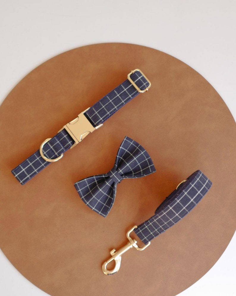 Free Name Engraving Navy Blue Plaid Personalized Dog Collar and Leash Bow tie set