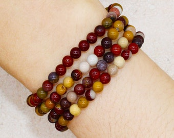 Mookaite Jasper Beaded Crystal Bracelet 4mm Mini Beads Stackable   For Joy, Happiness, Grounding, Healing Energy, Spiritual Gift for Her