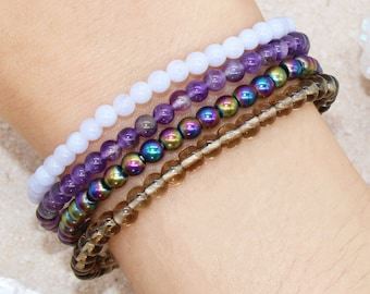 Anti Anxiety, Stress, Depression Stackable Dainty Crystal Intention Bracelet Set - Energy Healing | Blue Lace Agate, Amethyst, Smoky Quartz