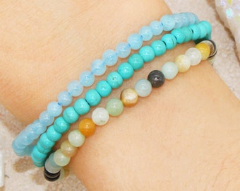Peace Harmony Stackable Small 4mm Beads Blue Gemstone Crystal Intention Bracelet Set | Calming Energy - Aquamarine, Turquoise, Amazonite