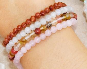 Love Thyself Confidence-for-Her Mother's Day Stackable Crystal Intention Bracelet Set - Rose Quartz, Moonstone, Cherry Quartz, Red Sandstone