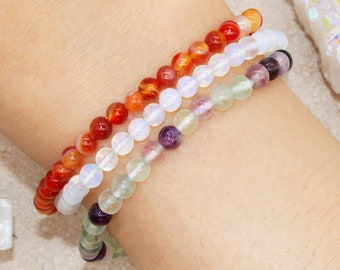 Creativity & Inspiration Stackable Dainty Gemstone Crystal Intention Bracelet Set | Artist Gift Writer Gift Personal Growth Jewelry For Her