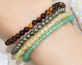 Attract Abundance Luck Wealth Manifest Money Stackable Crystal Intention Bracelet Set - Green Aventurine, Citrine, Tiger Eye, Pyrite