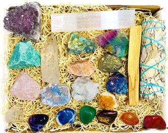 22 pcs Crystal Kit Box - Raw Crystal, Gemstones, Sage, Cluster Kit, Chakra Crystal Set for Beginner Starter, Reiki Mediation Healing Gift