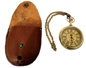 Brass pocket watch with Leather case gift Victoria watch Black Leather Pouch gift Handmade watch Collectible watch