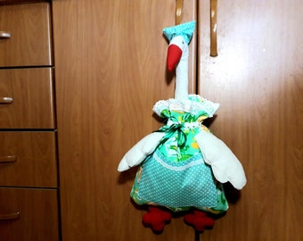 Plastic bag holder Goose,bag dispenser doll, kitchen wall decor, farmhouse decor, grocery bag holders.