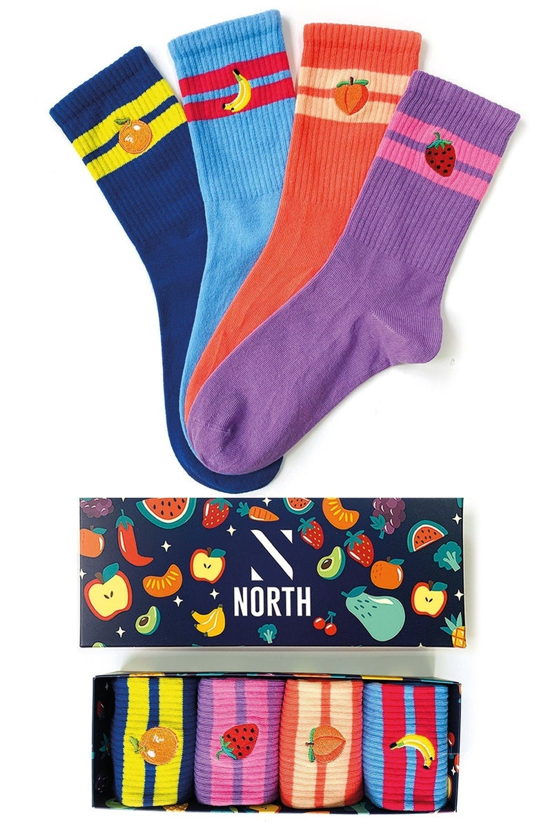 4 Pairs Embroidered Fruits Socks Bundle Pack 2 Funny Socks Cool Socks Colorful Socks Happy Socks