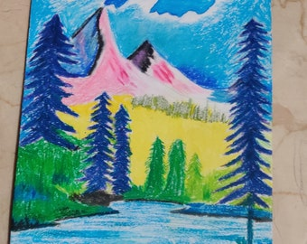 Oil painting Mountain World abstract pastel 50 x 30 cm