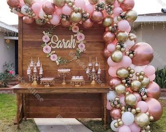 153pcs Macaron Baby Pink Chrome Rose Gold White Balloon Garland Arch Wedding Supplies Baby Shower Birthday Party Bridal Shower Decoration