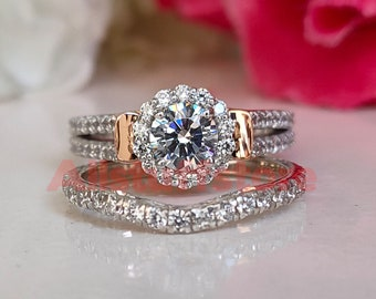 Bridal Halo Wedding Engagement Ring Set, 2.50 Ct Round Cut White Sapphire, Split Shank Curved Band Ring, 925 Sterling Silver,White Gold Over