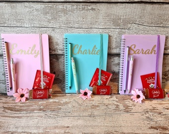 SELF GIFT - PERSONALISED A5 ring bound notebook, pen, pencil, tea/coffee and biscuits - enjoy yourself or gift a friend - Writers gift