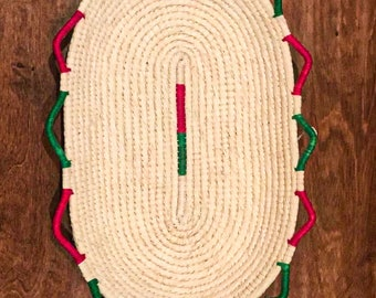 Chambira Basket/Centerpiece, oblong, red, green, natural