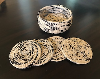 Coasters & holder set - Handmade by the people of the Amazon Rainforest