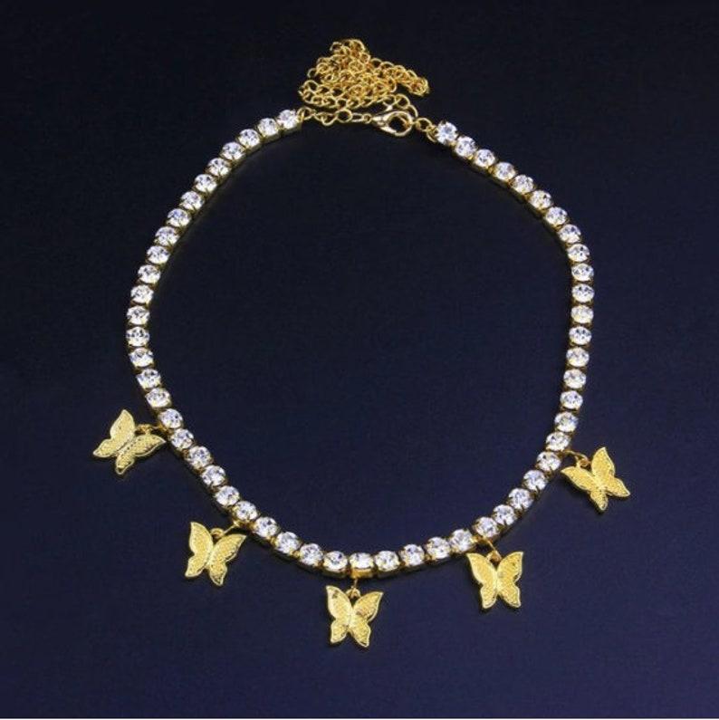 Fashion Cute Shining Crystal Butterfly Choker Necklace for Women