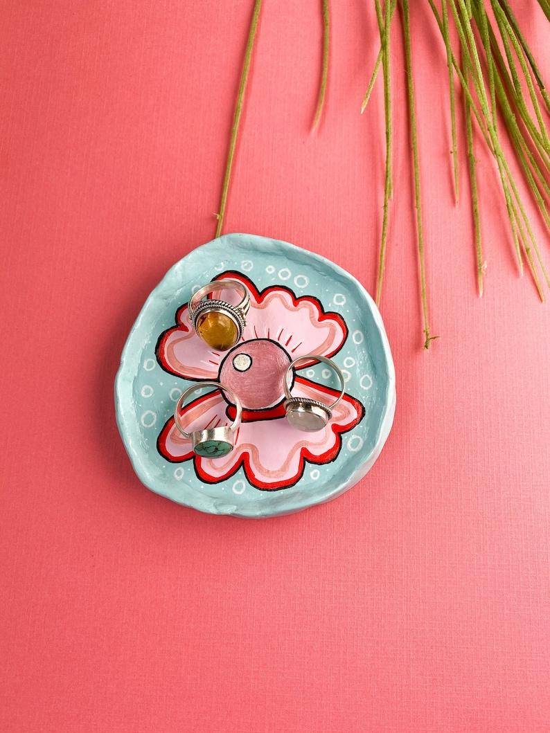 Baby Blue and Pink Handmade Hand-Painted Clay Trinket Dish-Cute Clam Shell-Mermaid-Jewelry Tray-Retro Decor-Ring Dish