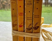 1960s Agatha Christie book collection, yellow, French vintage, decor, bookshelf
