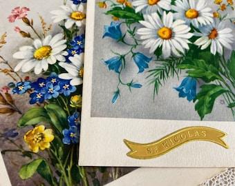 Saint Nicolas vintage flower postcards, French, crafting, scrapbooking, journals, vintage paper