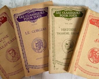 4 French vintage classic books, Les Classiques pour tous, Librairie Hatier