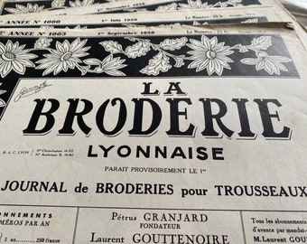 La Broderie Lyonnaise journal, embroidery, patterns, sewing, scrapbook, craft, decor, French vintage