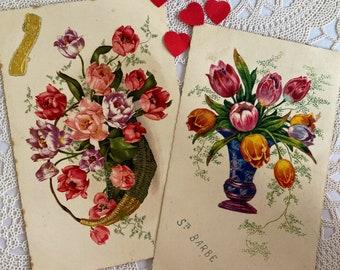 Sainte Barbe vintage flower postcards, French, crafting, scrapbooking, journals, vintage paper