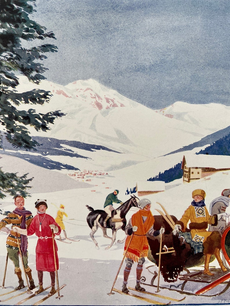 1920s print French ski fashion Belle Jardinière Paris image 0