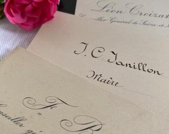 25 French calling cards, cartes de visite, business cards, vintage paper, craft, journals, scrapbook, history