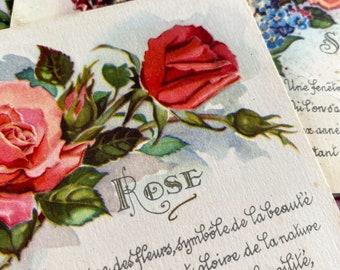 Beautiful vintage flower postcards, French, crafting, scrapbooking, journals, vintage paper