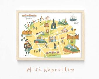 Map Print/Edinburgh map Poster/Travel art Print/Playroom Deco/Nursery print/Kids print/Educational print/Nursery wall art/Classroom deco