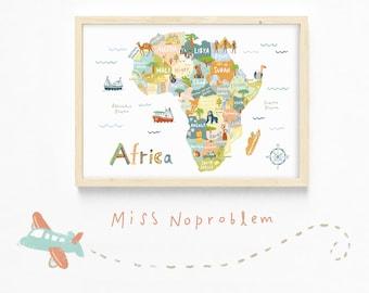 Map Print/Africa map Poster/Travel art Print/Playroom Deco/Nursery print/Kids print/Educational print/Nursery wall art/Classroom deco