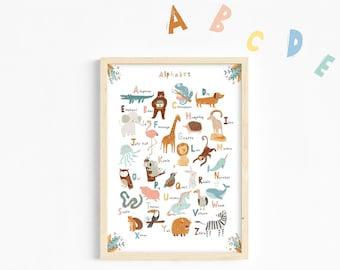 Animal Alphabet Print/Alphabet Poster/ABC Print/Play room Deco/Nursery print/Kids print/Educational print/Nursery wall art/Baby girl nursery