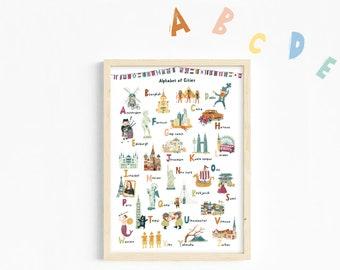Travel art print/Alphabet Print/Alphabet Poster/ABC Print/Play room Deco/Wall Art/ABC Poster/Nursery print/Kids print/Educational prints