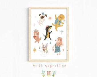 Happy dancing Dogs wall art/Animal Print/Playroom Deco/Nursery print/Kids print/Educational print/Nursery wall art/Baby nursery