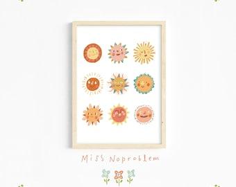 Sunshine wall art/sun Print/Playroom Deco/Nursery print/Kids print/Educational print/Nursery wall art/Baby nursery
