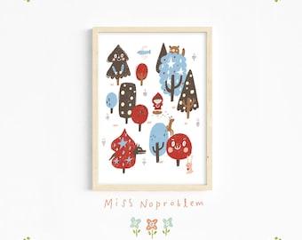 Red riding hood wall art/fairytale Print/Story/ Playroom Deco/Nursery print/Kids print/Educational print/Nursery wall art/Baby nursery