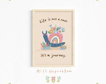 Snail wall art/Quote Print/Playroom Deco/Nursery print/Kids print/Educational print/Nursery wall art/Baby nursery