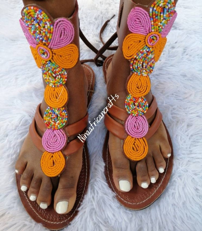 leather sandals Beaded sandals Maasai sandals gift for her Handmade sandals African sandals Gladiators sandals