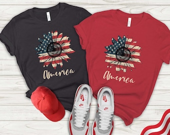 American Sunflower T-shirt, 4th Of July T-shirt, 4th Of July Flag Shirt, Freedom Shirt, Independence Day Shirt, Fourth Of July Shirt