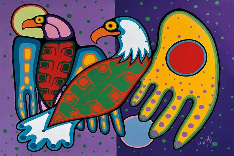 First Nation Indigenous Art Friends by Jim Oskinigeesh Art Print