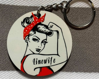 Rosie the Riveter Keychain with Handmade Rosie Doll Rosie Silhouette and Can Do Etched on Red Metal Dog Tag with Customizable Name
