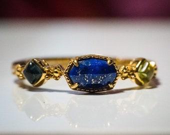 Lapis Lazuli Ring, Multi Stone Crystal Gold Vermeil Ring, Blue Topaz Lemon Quartz Silver Anniversary Birthday Jewelry Gift for Grandma/Mom