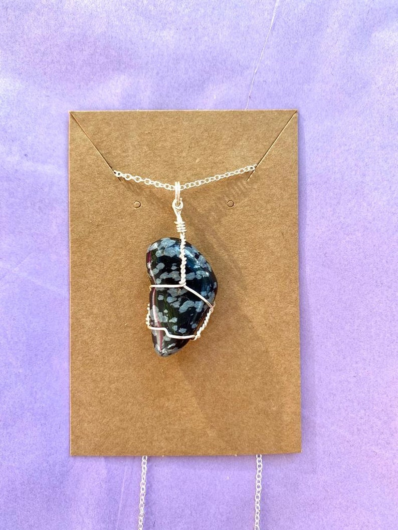 Snowflake obsidian wire wrapped crystal necklace