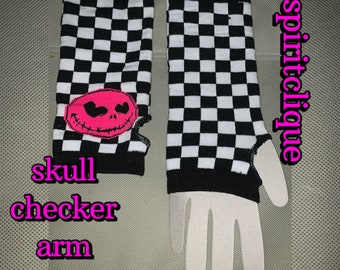 Vintage Checker Arm Warmers with Pink Skull, Gothic Emo 1990s Accessories