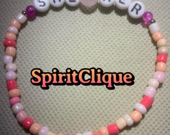 Beaded Pronoun Bracelet With Gems & Seed Beads