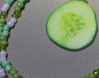 Cucumber or Pickle Beaded Necklace, Green & White