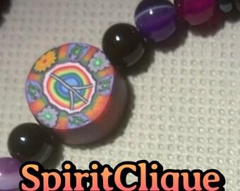Real Vintage 1990s Fimo Rainbow Peace Sign & Gemstone Beaded Bracelet