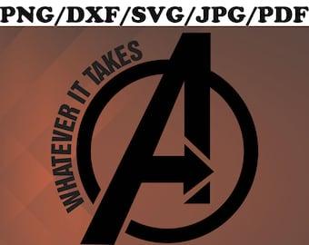 digital Cricut dxf Silhouette File for cut Logo Avengers Line svg png clipart pdf jpg