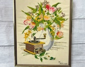 Vintage 1970s large wood framed flower vase coffee grinder embroidery, cottagecore decor, retro wall art, gifts for her, housewarming gifts