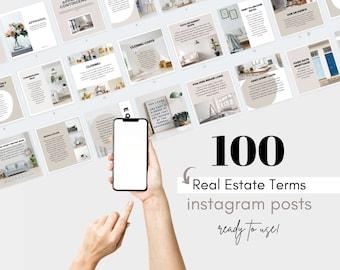 100 Real Estate Terms Instagram Posts, Morgage Broker Instagram Posts, Real Estate Vocabulary Marketing, Real Estate Marketing, Agent