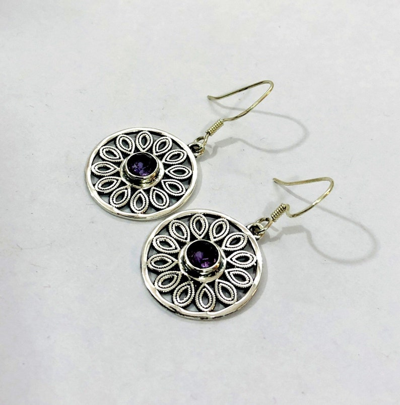 Modern Boho Earring 925 Sterling Silver Jewelry Purple Stone Earring Ethnic Fashionable Natural Amethyst gemstone Earring