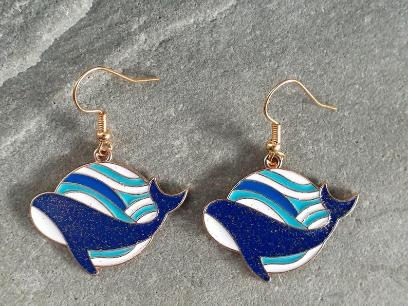 ocean marine Whale wave earrings beach whale sea life Maritime nautical